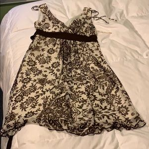 Brown and cream floral dress